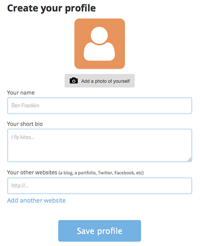 Create your profile